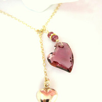 Valentines antique pink Swarovski heart crystal gold bubble heart necklace