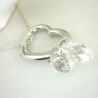 Sterling silver heart double Swarovski crystal briolette necklace
