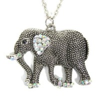 Crystal Elephant Necklace Safari Charm Ethnic Silver Tribal Africa Pendant Fashion Jewelry