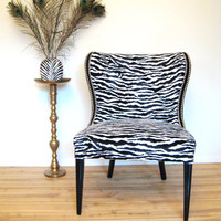 Vintage Zebra Print Slipper chair with Nickle Nailhead Trim