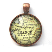 Vintage Map Pendant of France in Glass Tile by CarpeDiemHandmade