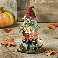 Creepy Halloween Zombie Gnome Garden Statue Sculpture