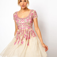 ASOS Skater Dress With Pink Beading