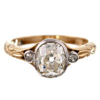 Antique Oval Cut Diamond Platinum & Yellow Gold Engagement Ring at 1stdibs