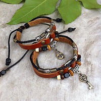 Handmade Couple Leather Bracelets-H.. on Luulla