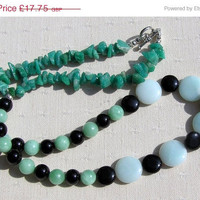 "WINTER SALE Amazonite & Black Onyx Crystal Gemstone Necklace - ""Amazon Mist"" - Special Offer Price"