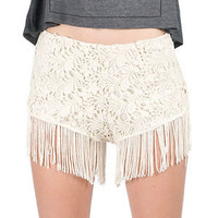 CREAM/ IVORY CURTAIN FRINGED BOTTOM CROCHET HIGH RISE HIPPIE FESTIVAL SHORTS SML
