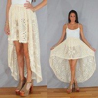 Vintage 90s beige CROCHET High Low Mini Maxi sheer Fishtail Skirt S/M/L