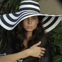 Gorgeous Women Stripe Zebra Floppy Straw Wide 17CM Brim Derby Beach Hat