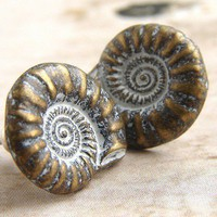 $12.50 Nautilus Shells Earrings  metal stud posts earrings by soradesigns