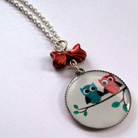 Owl Necklace Pretty Owl Pair Pendant by KitschBitchJewellery