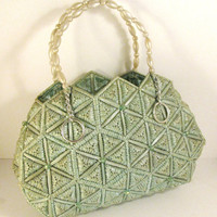 Vintage Purse Seafoam Green Beaded Straps by colorsoulartistry