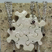 Puzzle Piece Necklace Set of 5 Bridesmaid or Best Friend Pendants Polymer Clay Cherry Blossom