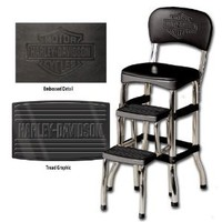 Harley-Davidson® Bar & Shield Retro Step Stool. Tred Graphics. Logo on Backrest. HDL-12207: Home & Kitchen