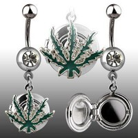 14g Dangling Pot Leaf Locket Sexy Belly Button Navel Ring Dangle Body Jewelry Piercing with Clear C