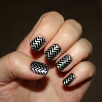 Silver Chevron Vinyl Nail Decals on Clear