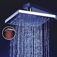 LightInTheBox 8 Inch Single Function Temperature Sensitive Rainfall LED Shower Head, Chrome