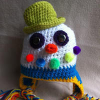 Sam The Snowman  Multicolored hat with ear by HookinItbyBellaBeanz