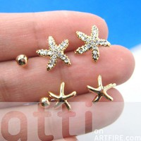 Small Starfish Star Animal Stud Earring 6 Piece Set with Rhinestones