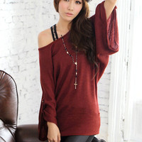 Slim Wide Sleeve Buckle Red Blouses Stylish : Wholesaleclothing4u.com
