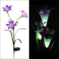 CIS-28080 Solar Pole Trigeminal Lily LED Color-changing Lamp for Garden Decoration (Purple) Hot Sale At Wholesale Price - Gadgetsdealer.com