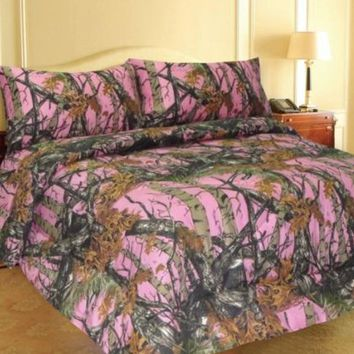 PINK FOREST CAMO 6-Piece MicroFiber Sheet and Pillowcase Set -Queen-