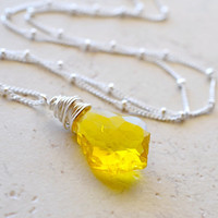 Crystal Necklace Sterling Silver and Yellow Citrine by waterwaif