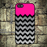 Glitter Print Chevron Pink iPhone 5 case iPhone 4s by DartFrogOne