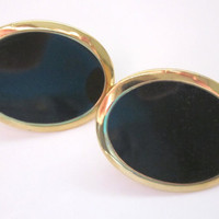 Black Oval Vintage Earrings, Signed Napier, with Gold tone trim, screw style