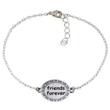 "Chuvora .925 Sterling Silver ""Friends Forever"" Circle Charm Bracelet 7'' with 2'' extension chain, Gift for a Friend, Best friend: Jewelry: Amazon.com"