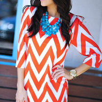 EVERLY: Joy For Chevron Dress: Coral | Hope's