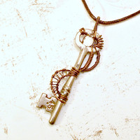 Skeleton Key Wire Wrap Pendant