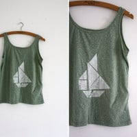 Tshirt  green  white  tangram boat by thingslikediamonds on Etsy