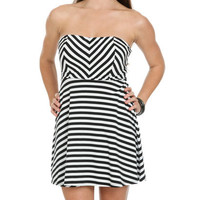 Mixed Stripe Skater Dress | Shop Dresses at Wet Seal