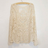 Women&#x27;s Lace Beige Retro Floral Knit Top Long Sleeve T Shirt Waistcoat Pullover