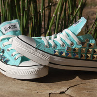 Studded Converse Low Top Mint/Aqua/Sky Blue