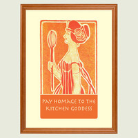 Kitchen Goddess art nouveau print by Visuaria on Etsy