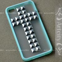 Studded Iphone 4 Case Cross Silver studs Mint Green by TheArtCity