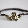 Claddagh Bracelet or Anklet in Antique Gold/Brass