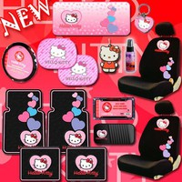 NEW Hello Kitty Heart Design Car Accessories Combo Set with 2 Low Back Seat Covers Steering Wheel C
