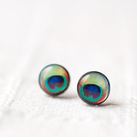 $15.00 Peacock ear posts  Tiny earrings  Everyday jewelry by BeautySpot