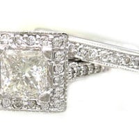 14k white gold princess cut diamond engagement ring and by KNRINC