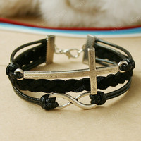 Cross bracelet - Black infinity charm bracelet for boyfriend and bff, cool gift