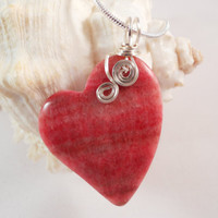 Wire Wrapped Heart Pendant, Rhodochrosite Jewelry, Handmade