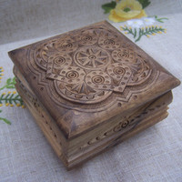 Jewelry box Ring box Wooden box Carved wood Wedding by HappyFlying
