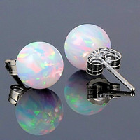10mm Australian Fiery White Opal Ball Stud Post by 1000jewels