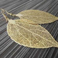 Large Golden Leaf Skeleton Earrings Gold Earrings by JSWMetalWorks