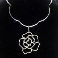 Rose pendant choker, silver plate scalloped necklace, statement