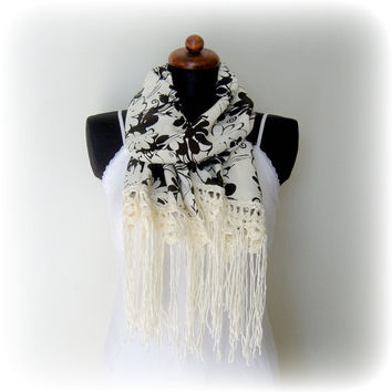 Flower Scarf, Cream Fashion Scarf
