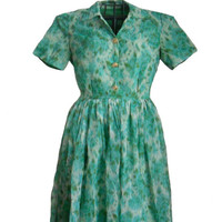 Vintage 1950s Dress Short Sleeve Handmade Green and Blue Print Chiffon Day Dress